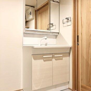 大きい洗面台が嬉しい。(※写真は4階の同間取り別部屋のものです)