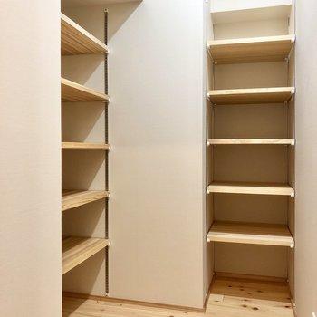 隣には大容量の収納スペース。季節の服や家電などこちらへ!(※写真は4階の同間取り別部屋のものです)