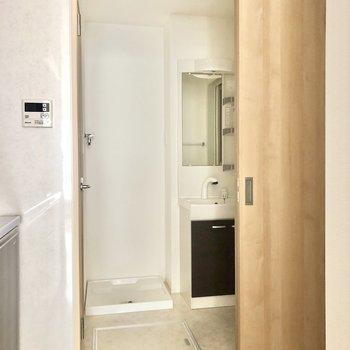 スライドドアを開け、洗面所へ。