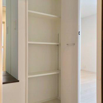 脱衣所の向かいにはこんな物入れ。可動棚なので多用途に使えますね。