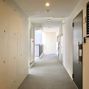 共用廊下はコンクリート打ちっ放しでクールに。