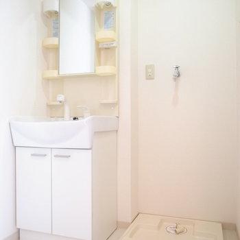 脱衣所に、洗面台と洗濯機置き場が並んでいます。
