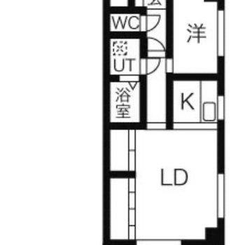 お部屋は1LDKの間取り。