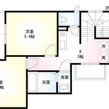 約5.4帖のお部屋が2つあります。
