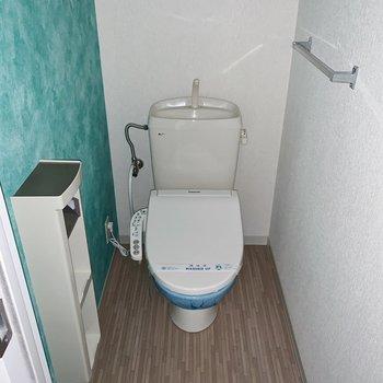 トイレの壁もトロピカルな水色クロス。ペーパーホルダーにはストックも入りますよ◎