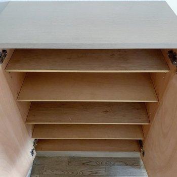 シューズボックスはこれくらい。1人暮らしなら、十分な大きさ◎(※写真は6階の同間取り別部屋のものです)