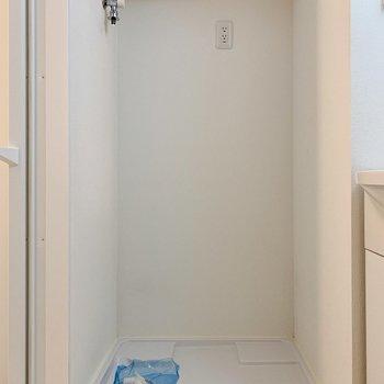 脱衣所には洗濯機置き場と、