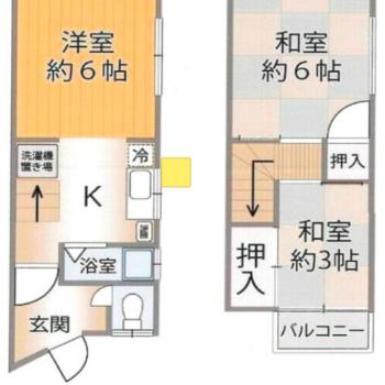 2階建てで、1階には水回りがぎゅっと、2階にはかわいらしい和室があります。