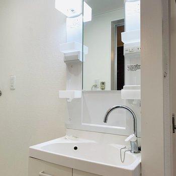 手前には洗面所。蛇口の部分が可愛らしい。(※写真は清掃前のもの)