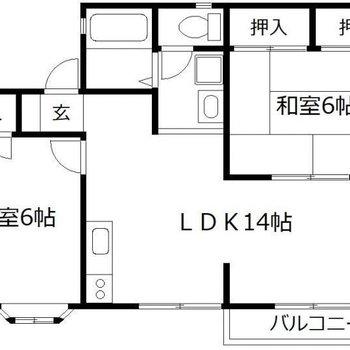 2~3人家族で住みたい、ゆったり2LDK。