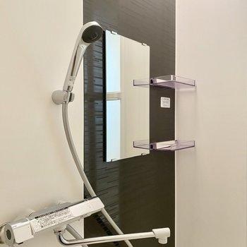 鏡周りにはラックがついています。ピッカピカのシャワーヘッド!