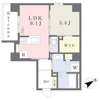 お部屋は収納充実な1LDKですよ。