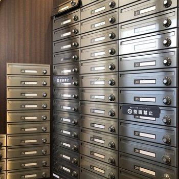 メールボックスがずらりと並んでいます。