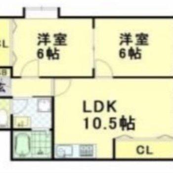 同じ広さの洋室がふたつ!二人暮らしにも、ファミリーにもいいな。