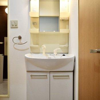 洗面台の隣は小さなワゴンなどで収納アップをはかれそうです〜。