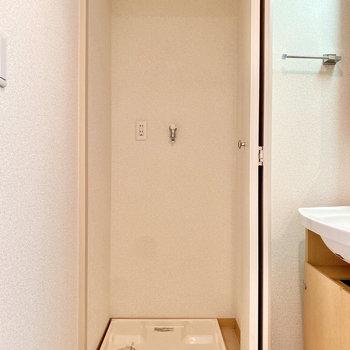 室内洗濯機置き場は扉で隠せますよ。