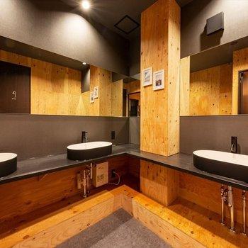 【共用部】洗面所もスタイリシュ。それぞれの台のスペースが大きめに取られていることもポイント。