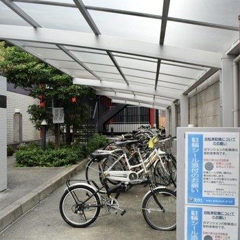 自転車置き場は広々。