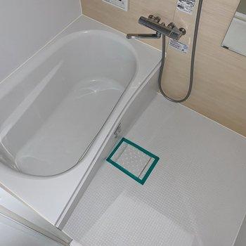 お風呂も木目シートが柔らかい雰囲気◯(※写真はフラッシュを使用しています)