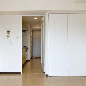 居室とキッチンはドアで区切られています。