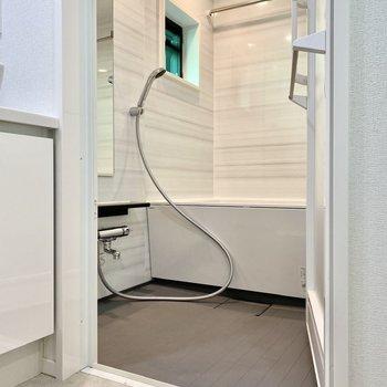 大理石のような壁材が美しい浴室。乾燥機付きですよ