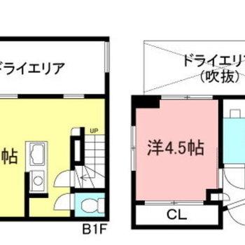半地下に位置するデザイナーズ1LDK。