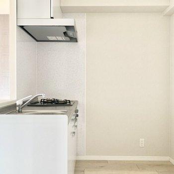 ゆったりの幅のあるキッチン。奥に冷蔵庫が置けそうです。(※写真は11階の同間取り別部屋のものです)