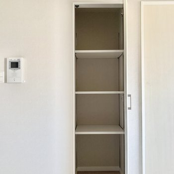 リビングには小さめの収納スペースがありました。普段使いのものをしまっておけそうです。(※写真は11階の同間取り別部屋のものです)