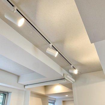 天井はクールにライティングレール。