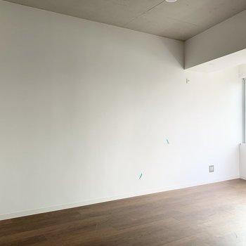 他の壁は真っ白で空間を広く見せる役割を。