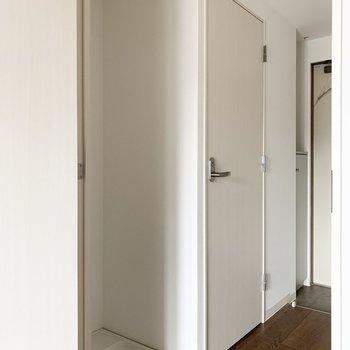 左側のドアの向こうには洗濯機置場、トイレ、玄関が続きます。