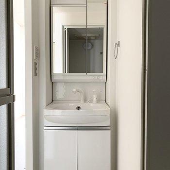手前にシャンプードレッサーと、向かいに浴室。脱衣スペースは扉がないので突っ張り棒でカーテンを付けるのがおすすめです。