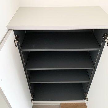 シューズボックスは1段に2,3足くらいのサイズ感の可動棚。