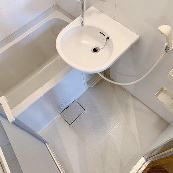 お風呂は2点ユニットです。朝のお手入れはささった済まそう。