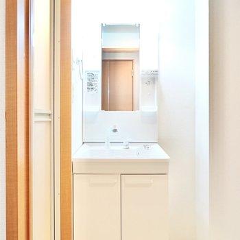 キッチンの背面側のドアを開けると脱衣所。正面には棚付きの洗面台。(※写真は1階の同間取り別部屋のものです)