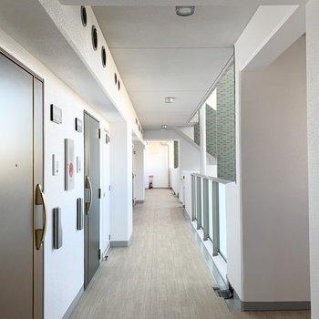 共用廊下は白を基調とした明るい空間。