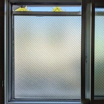洋室窓から。正面はすりガラスのボードがあります。取り外すことはできないので外は見れなさそうです。