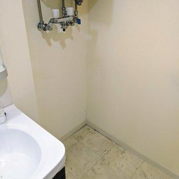 洗面台の隣に洗濯機置き場がありました。