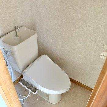 トイレはしっかり個室。天井は階段です。※写真はフラッシュを使用しています