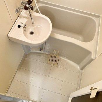 シンプルな印象の浴室。