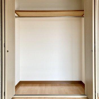大きなクローゼットは奥行きがあり、衣装ケースを入れると空間を有効活用できそう。