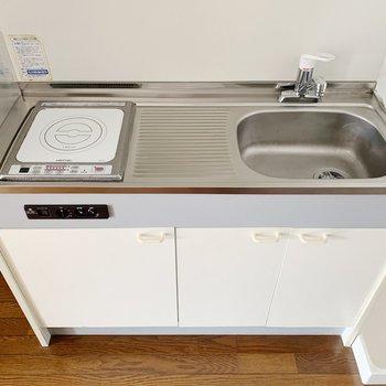 キッチンは1口コンロだけど、作業スペースも確保です!