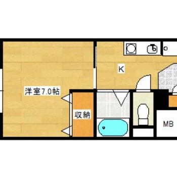 シンプルな1Kのお部屋。大きな収納が特徴的です!