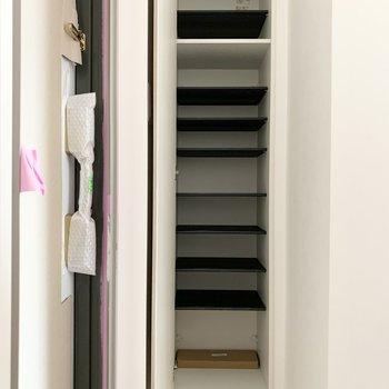 シューズボックスは1段に2足くらいのサイズ感の可動棚。