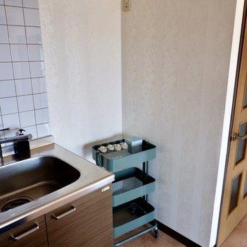 【LDK】右側には冷蔵庫が設置できるんです。