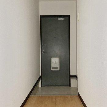 玄関に行きましょう。※写真は通電前のため、フラッシュを使用しています