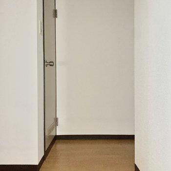 トイレは正面の扉から。※写真は通電前のため、フラッシュを使用しています