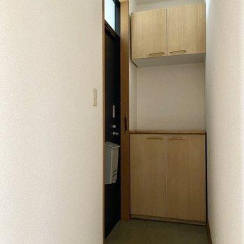 玄関。斜めに切り取られたようなタタキが特徴的。