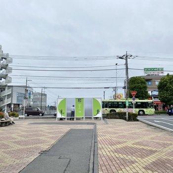 駅前。飲食店やドラッグストアなどが並びます。