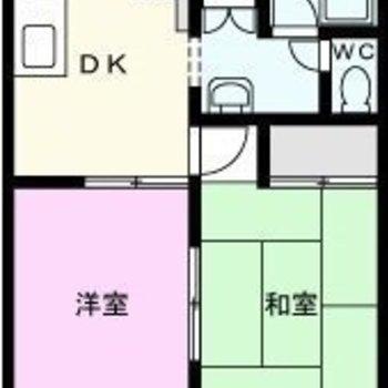 お部屋分けしやすそうな2DK。